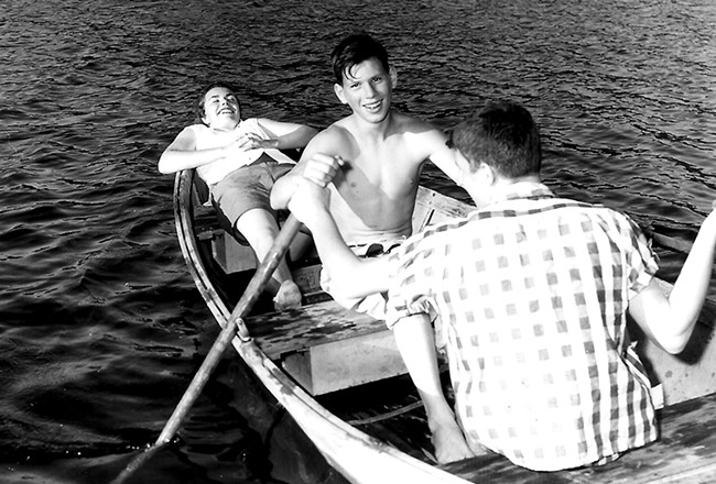 After a flurry of work, the first campers were able to enjoy Davis Lake in August of 1957. - CAMP SPALDING PHOTOS