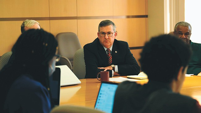 So far, WSU President Kirk Schulz has resisted calls to restrict students' free-speech rights, and he's remained optimistic about working with student protesters to improve the campus climate. - RYAN PUGH