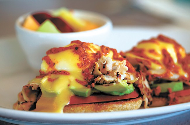The Veggie Benedict comes drizzled with pesto. - TESS FARNSWORTH