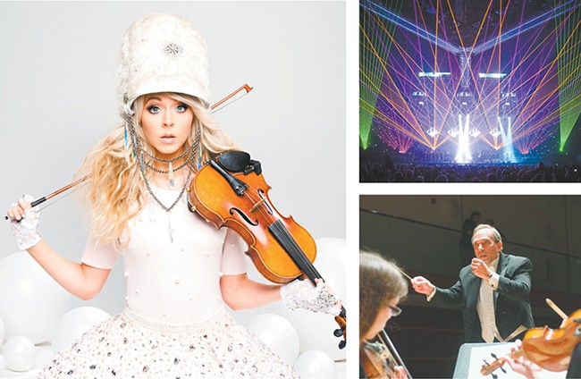 LEFT: Lindsey Stirling returns to town Dec. 15. - RIGHT: Trans-Siberian Orchestra (top) and Coeur d'Alene Symphony.