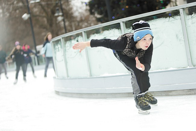 The Spokane ice ribbon is open and smooth. - YOUNG KWAK
