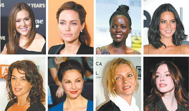 Some famous voices of the #MeToo moment: (clockwise from top left) Alyssa Milano, Angelina Jolie, Lupita Nyong'o, Olivia Munn, Rose McGowan, Uma Thurman, Ashley Judd, Annabella Sciorra.