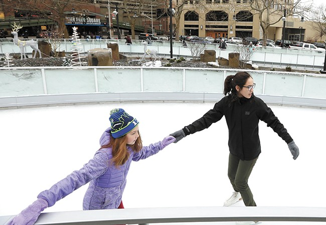 To avoid peak times, consider a visit to Riverfront Park's ice ribbon on a weekday, before 4 pm. - YOUNG KWAK