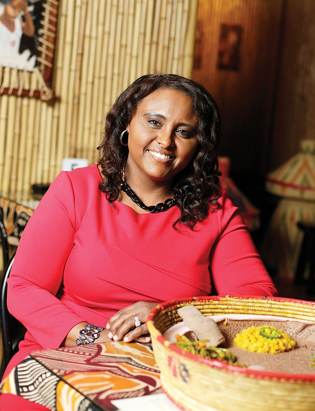 Chef Almaz Ainu's restaurant is faithful to Ethiopian traditions. - YOUNG KWAK