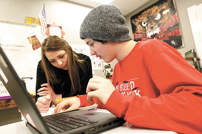 To stay on track for graduation, Dominick Tibbets, 14, attends North Central's ninth-grade intervention room after school. - YOUNG KWAK