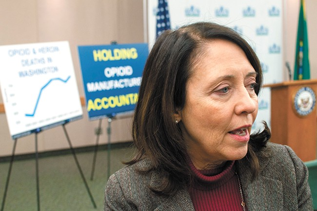 U.S. Sen. Maria Cantwell wants to force drug manufacturers to report exactly where their opioid drug shipments are going. - DANIEL WALTERS