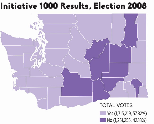 Voter support for Initiative 1000 — Washington's Death with Dignity Act — crossed typical ideological boundaries, with counties on both sides of the Cascades approving the measure. - SOURCE: OFFICE OF THE SECRETARY OF WASHINGTON STATE