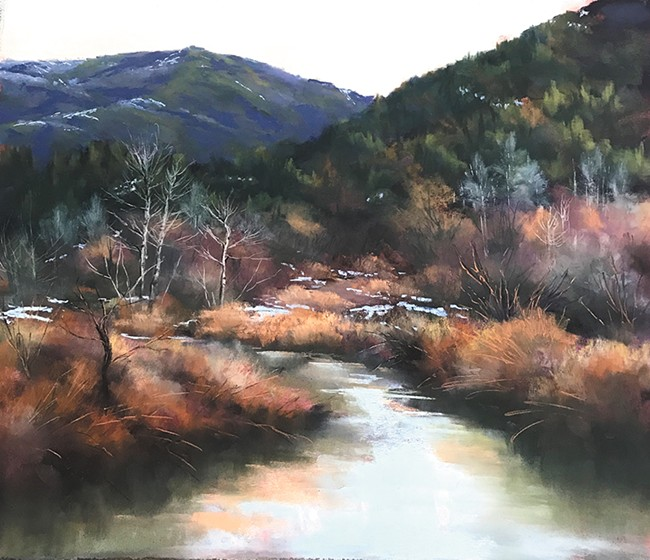 """""""March Color in the Bitterroot Range"""" by Bonnie Griffith is at Dodson's Jewelers."""