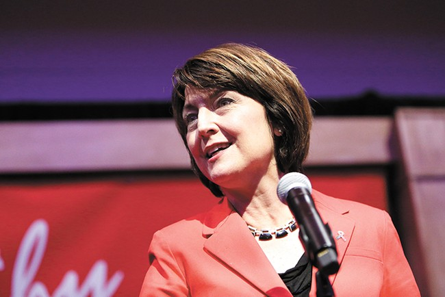 Rep. Cathy McMorris Rodgers (R-WA) has supported improving the federal background check system, but continues to oppose measures like raising the age required to buy a semi-automatic rifle. - YOUNG KWAK