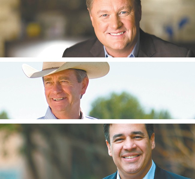 FROM TOP: Boise developer Tommy Ahlquist, Lt. Gov. Brad Little and Congressman Raúl Labrador.