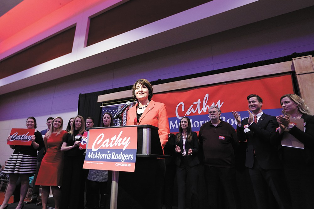 Rep. Cathy McMorris Rodgers speaks during an election night event in Spokane in Nov. 8, 2016. - YOUNG KWAK