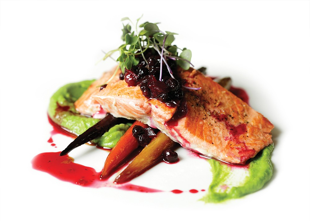 Salmon with huckleberry chutney. - YOUNG KWAK