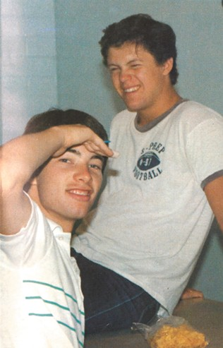 Still silly after all these years: Bill Akers (left) and Mike Konesky at Gonzaga Prep. - 1983 GONZAGA PREP YEARBOOK PHOTO