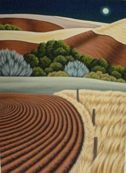 Full Moon Over the Palouse by Doug Martindale. Painted with  pastels on paper. - DOUG MARTINDALE