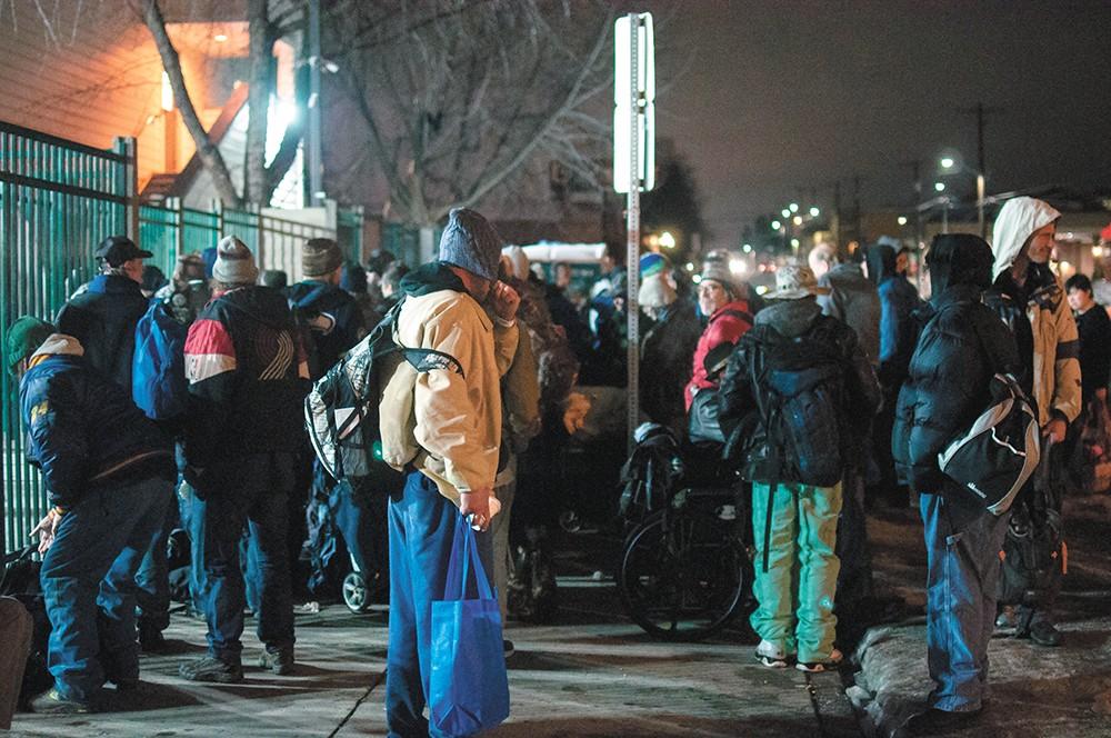The scene outside Spokane's House of Charity. - DANIEL WALTERS PHOTO