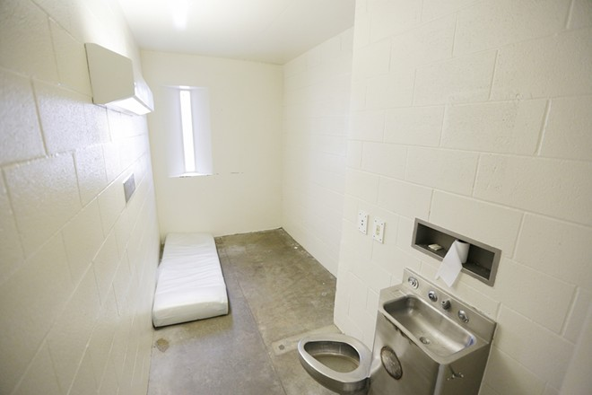 The inside of a Spokane County Jail cell specifically designed to hold inmates on suicide watch. - YOUNG KWAK PHOTO