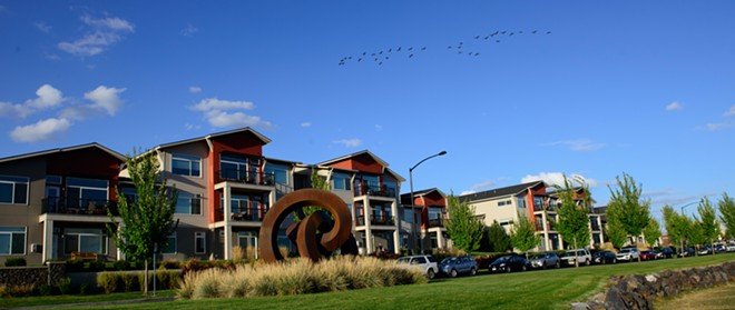 A flock of geese fly over Kendall Yards - DANIEL WALTERS PHOTO