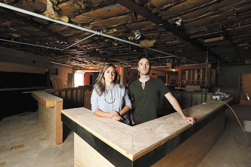 Karli and Caleb Ingersoll in the future home of the Lucky You Lounge. - YOUNG KWAK