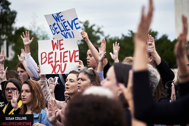 Protesters opposed to the nomination of Judge Brett Kavanaugh to the Supreme Court demonstrate outside the court in Washington before the start of a Senate Judiciary Committee hearing on Thursday, Sept. 27, 2018. Christine Blasey Ford is set to testify about her accusation that Kavanaugh sexually assaulted her. - T.J. KIRKPATRICK/THE NEW YORK TIMES