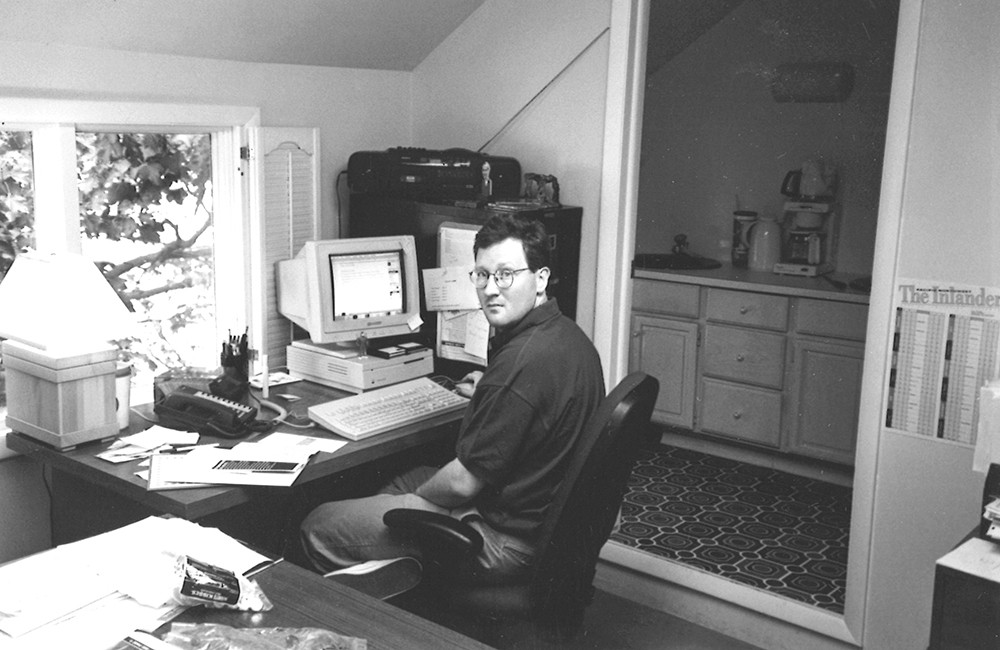 Ted at work, upstairs in the old house on Dean back in 1995. Note the boombox on top of the file cabinet.