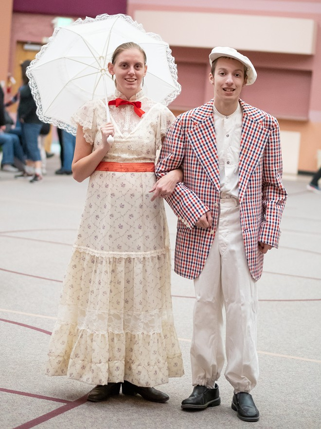 Actors Sadie Fischer and Logan Basta, playing Mary Poppins and Bert in the upcoming Out of the Shadows Theater production of Mary Poppins Jr., pose for a photo. - MITCHELL CRANE PHOTO