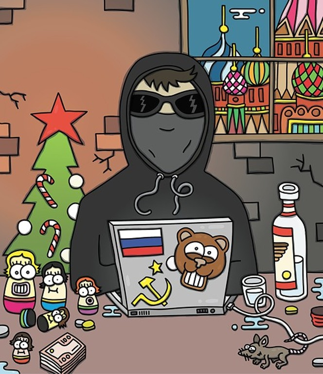 To be sure, this illustration may not accurately represent the precise identity of the hacker or hackers who attempted to break into the Fuse Washington site after the Rachel Maddow Show aired a secret audio recording during the Cathy McMorris Rodgers fundraiser. - CRAIG WINZER ILLUSTRATION