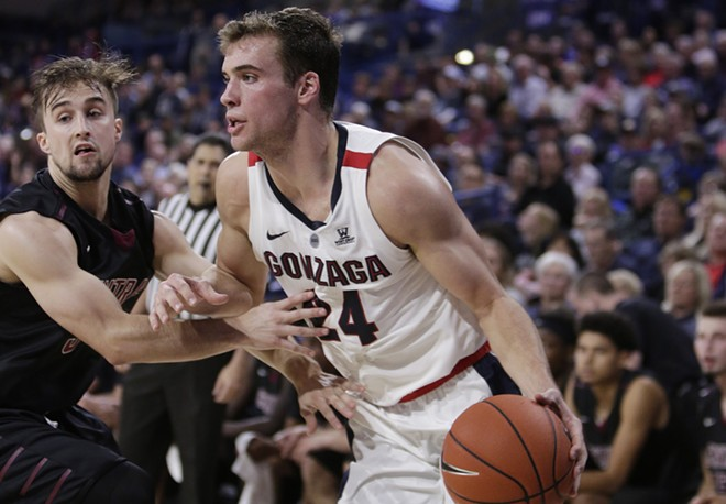 Gonzaga forward Corey Kispert drives the ball while defended by Central Washington guard Jackson Price during the first half of an NCAA college basketball exhibition game in Spokane, Nov. 1. - YOUNG KWAK