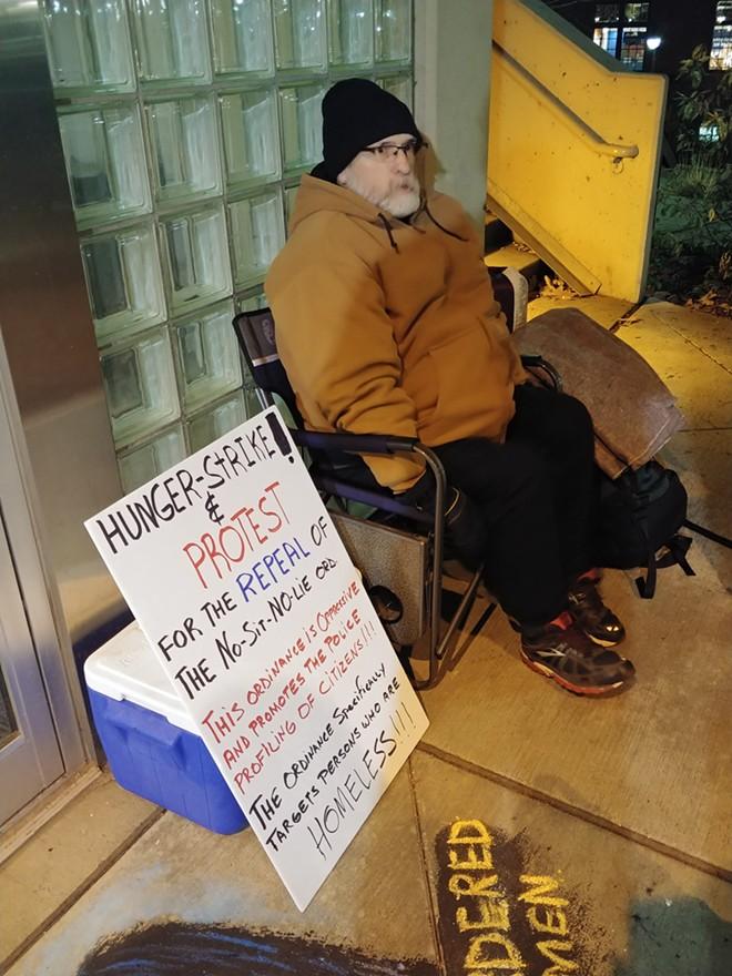Local activist Alfredo LLamedo's hunger strike begins Monday evening. - DANIEL WALTERS PHOTO