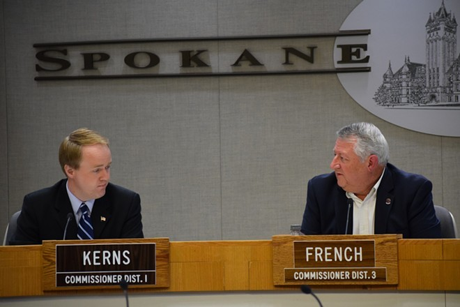 Spokane County commissioners Al French and Josh Kerns. - WILSON CRISCIONE PHOTO