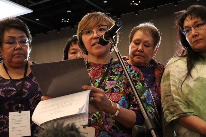 After going public with her story of abuse, Elsie Boudreau (center) became an advocate for other survivors in Alaska Native communities through her nonprofit Arctic Winds Healing Winds. - EMILY SCHWING FOR REVEAL