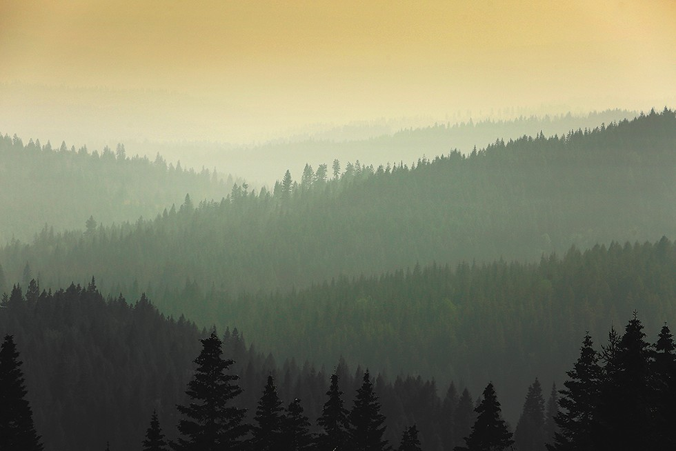 """FIRE AND SMOKE"" -  The view from Mount Spokane State Park during a smoke-filled day in August."