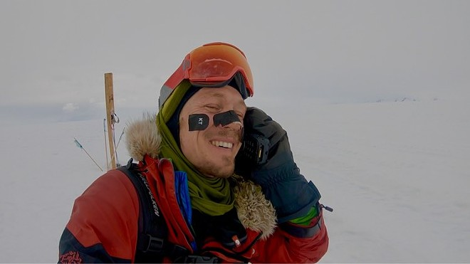 In a photo from Colin O'Brady, the athlete completes his trek, on day 54 of his trip across Antarctica, Dec. 26, 2018. O'Brady covered the final 77.5 miles of his 921-mile journey without sleeping and became the first person ever to traverse Antarctica from coast to coast solo, unsupported and unaided by wind.I - COLIN O'BRADY VIA THE NEW YORK TIMES