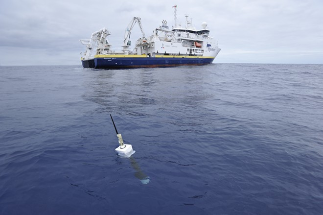 In an undated photo provided by researchers, the French research ship Pourquoi Pas deploys a sensor as part of the Argo project to monitor ocean temperatures. Scientists say that ocean warming is accelerating more quickly than previously thought, a finding with dire implications because almost all of the heat trapped by greenhouse gases ends up stored in oceans. (Olivier Dugornay/IFremer/Argo via The New York Times) - OLIVIER DUGORNAY/IFREMER/ARGO VIA THE NEW YORK TIMES
