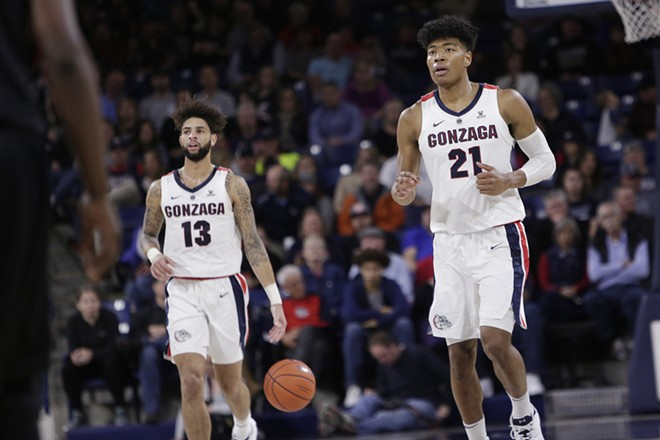 Gonzaga forward Rui Hachimura (21) and guard Josh Perkins were both vital to the Zags' win against San Francisco this weekend. - YOUNG KWAK