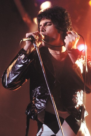 Freddie Mercury performing in 1977.