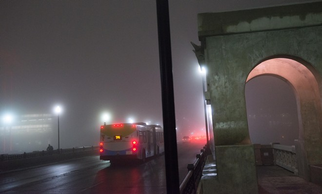 A foggy Monroe Street Bridge Thursday night - DANIEL WALTERS PHOTO