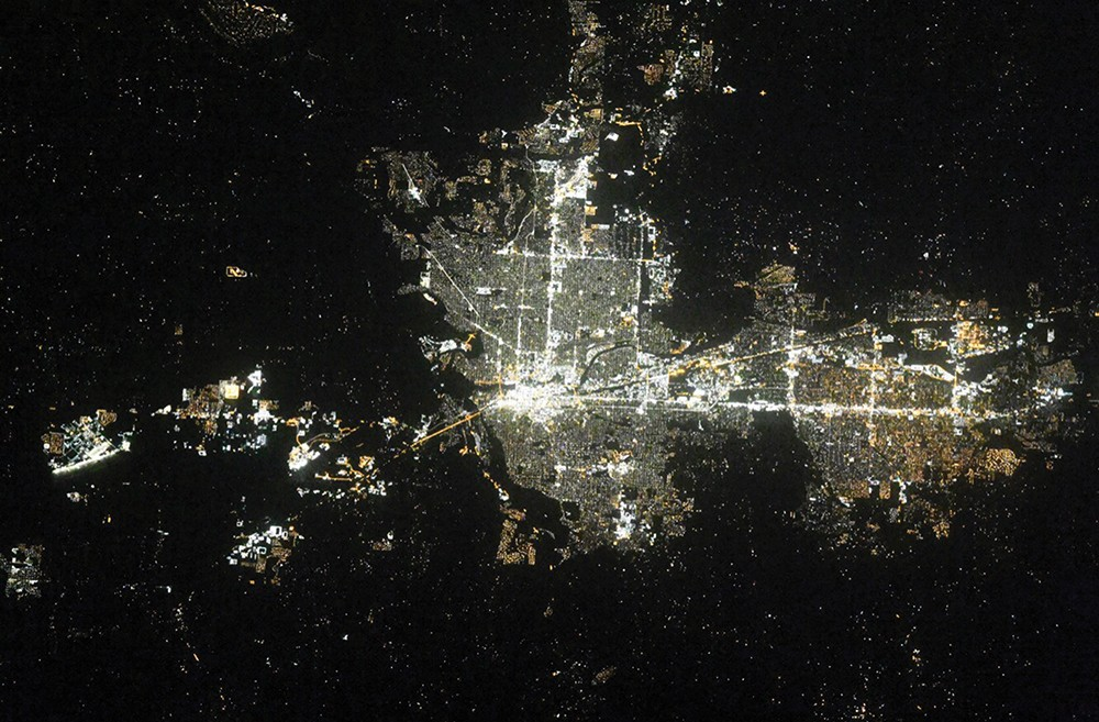 (Below) Spokane at night during a recent International Space Station flyover. - RUSSIAN COSMONAUT OLEG KONONENKO PHOTO