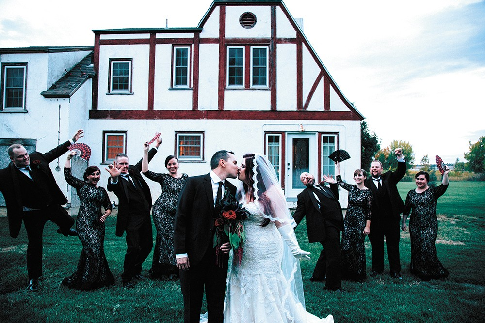 The Bricenos' Addams Family-style wedding. - PHOTO COURTESY OF MORGAN BRICENO