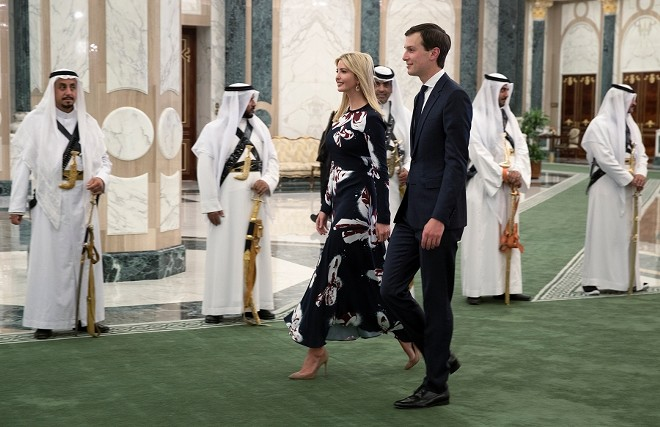 "Ivanka Trump and Jared Kushner, President Donald Trump's son-in-law and a key adviser on the Mideast peace process, arrive at the Royal Court Palace in Riyadh, Saudi Arabia, May 20, 2017. Kushner on Oct. 22, 2018, said the White House is still ""fact-finding"" on the circumstances of the dissident journalist Jamal Khashoggi's death, but he said it has its ""eyes wide open"" as the investigations into how he died continue. - STEPHEN CROWLEY/THE NEW YORK TIMES"
