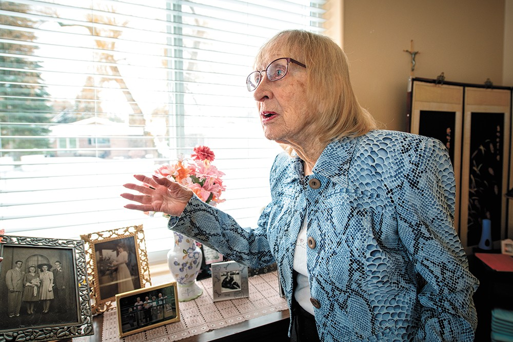 Catherine Childs, 103, says she enjoys her room at Little River Care Center, which is decorated with her own furniture and photos. - ERICK DOXEY PHOTO