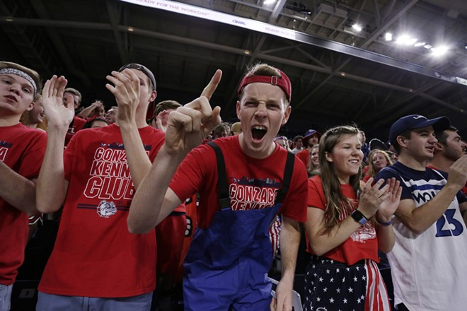 Gonzaga fans cheer before an NCAA college basketball exhibition game. - YOUNG KWAK PHOTO