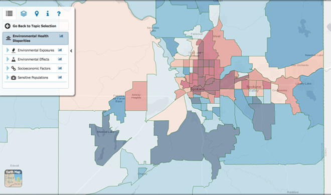 A SCREENGRAB OF WHAT THE ENVIRONMENTAL HEALTH DISPARITY MAP LOOKS LIKE FOR SPOKANE