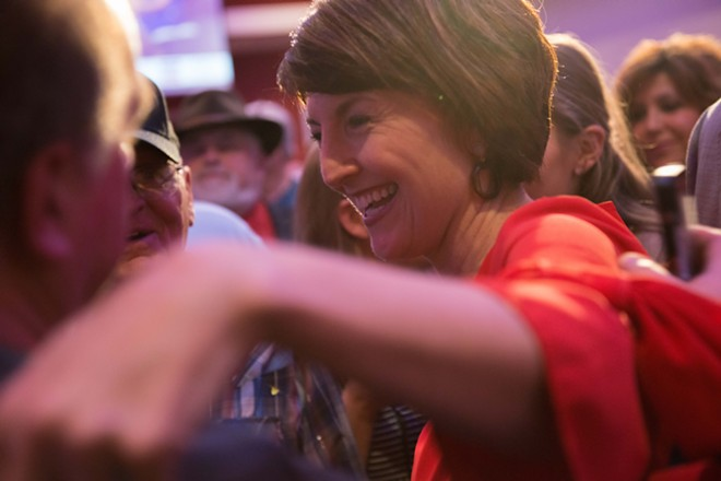 Rep. Cathy McMorris Rodger celebrates yet another solid victory in November of 2018. - DANIEL WALTERS PHOTO