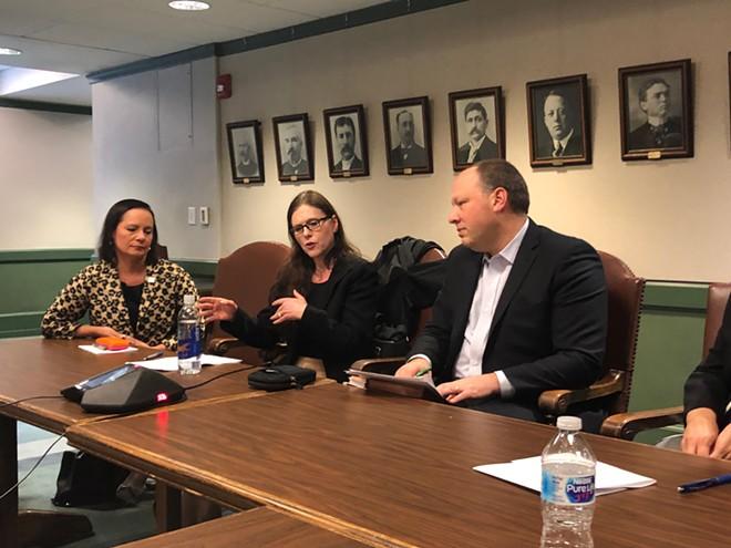 Shelley Redinger (middle) in Olympia talking to legislators about special education funding for Spokane - COURTESY OF SPOKANE PUBLIC SCHOOLS