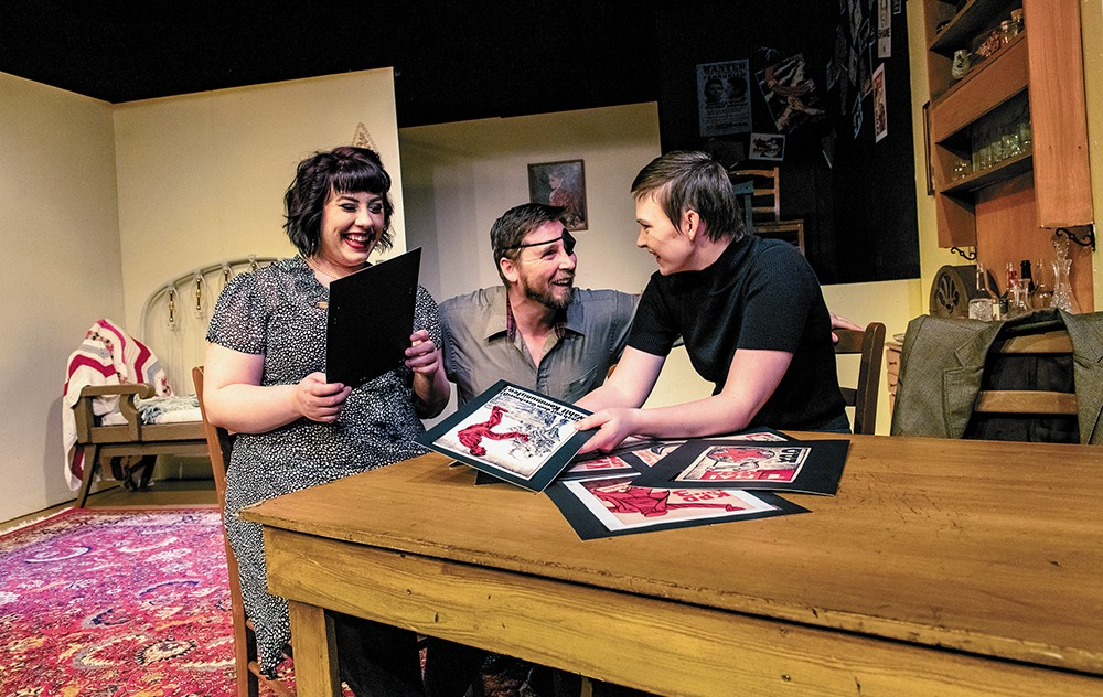FROM LEFT: Christine Mullaly, Scott Doughty and Harper Clanton perform in A Bright Room Called Day at Stage Left. - ERICK DOXEY PHOTO
