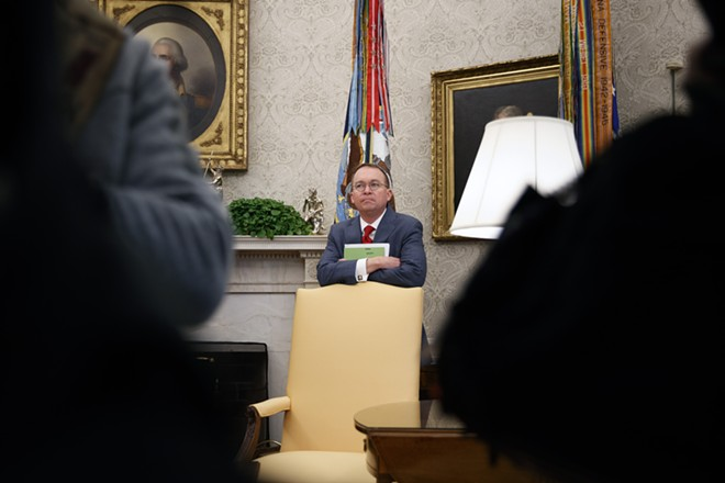 Mick Mulvaney, the acting chief of staff, in the Oval Office on Jan. 31, 2019. Mulvaney had spent years in the House saying that the Affordable Care Act  should be repealed. - TOM BRENNER/THE NEW YORK TIMES