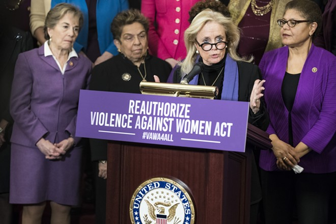 Rep. Debbie Dingell (D-Mich.) speaks at a news conference for the reauthorization of the Violence Against Women Act on Capitol Hill in Washington, March 7, 2019. The National Rifle Association is trying to defeat a provision in the new Violence Against Women Act that could deny firearms to abusive boyfriends. But Congress is changing. - SARAH SILBIGER/THE NEW YORK TIMES