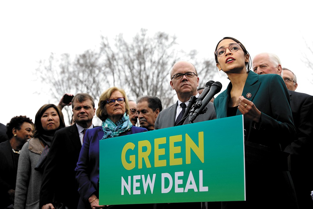"Rep. Alexandria Ocasio-Cortez (right) helped spearhead the controversial ""Green New Deal"" resolution. - SENATE DEMOCRATS PHOTO"