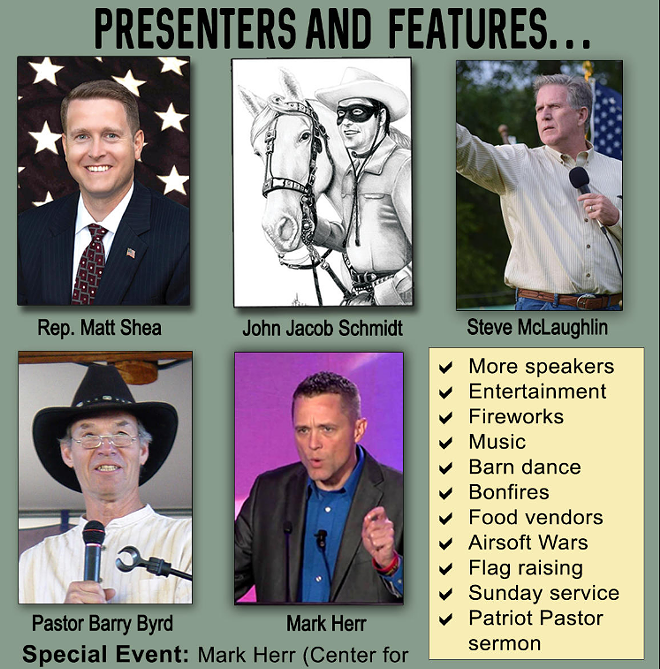 Steve McLaughlin was a featured speaker at last year's Marble God and Country event, along with controversial figures like Matt Shea. - SCREENSHOT OF MARBLE GOD AND COUNTRY EVENT ADVERTISEMENT