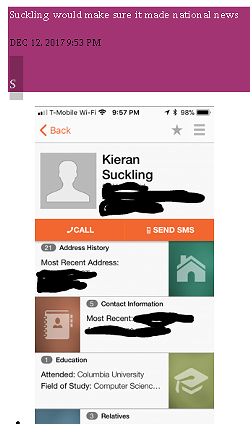 A redacted version of Suckling's address and contact information, shared in the group with Shea. - SIGNAL SCREENCAP